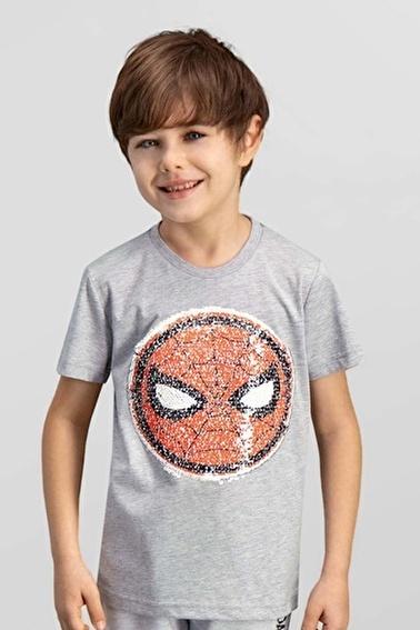 Spider-Man Spider Man Lisanslı Mavi Erkek Çocuk T-Shirt Gri
